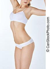 mulher bonita, adelgaçar, saudável, swimsuit, jovem, branca