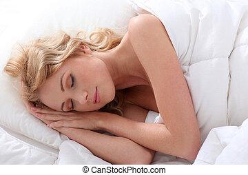 mulher bonita, adormecido, cama