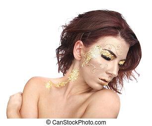 mulher bonita, adorned, com, folha ouro, cosméticos