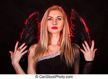 mulher bonita, anjo, jovem, pretas, asas
