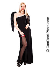 mulher bonita, anjo, jovem, vestido preto, asas
