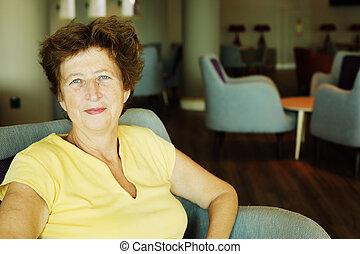 mulher bonita, antigas, anos, 70, retrato