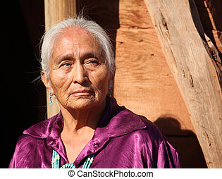 mulher bonita, antigas, idoso, 77, ano, navajo