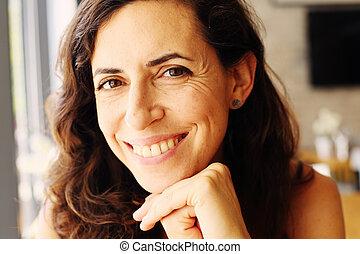 mulher bonita, antigas, sentando, 40, anos, retrato, café