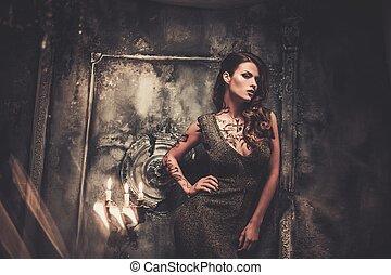 mulher bonita, antigas, spooky, interior, tatuado