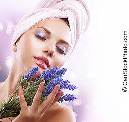 mulher bonita, após, lavanda, jovem, flowers., spa, menina,...
