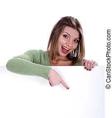mulher bonita, apontar, tábua, em branco, branco, feliz