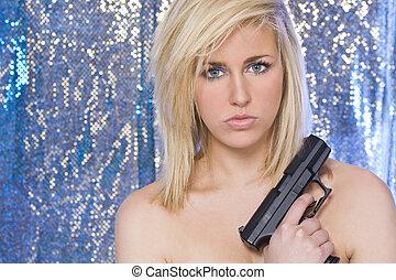 mulher bonita, arma, mão, pelado, loura