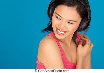 mulher bonita, arreliando, asiático