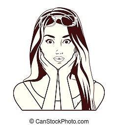 mulher bonita, arte, estouro, rosto, pretas, branca, sorrindo, caricatura