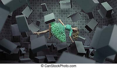 mulher bonita, arte, foto, levitating, multa