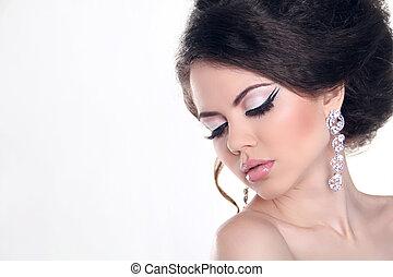 mulher bonita, arte, jóia, beauty., luminoso, moda, make-up., foto