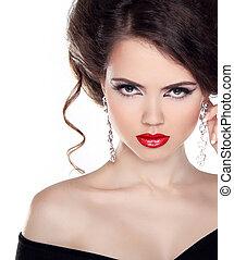 mulher bonita, arte, jóia, cacheados, beauty., cabelo, noite, make-up., foto, retrato, moda