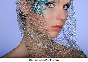 mulher bonita, arte, sereia, rosto
