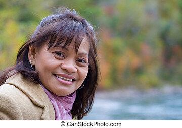 mulher bonita, asiático