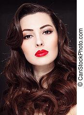 mulher bonita, batom, cacheados, jovem, cabelo longo, retrato, vermelho
