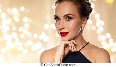 mulher bonita, batom, cima fim, vermelho