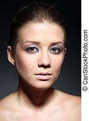 mulher bonita, beleza, closeup, retrato, excitado