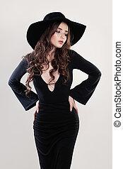 mulher bonita, beleza, jovem, moda, pretas, hat., modelo
