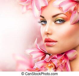 mulher bonita, beleza, rosto, flowers., menina, orquídea