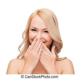 mulher bonita, boca, dela, cobertura