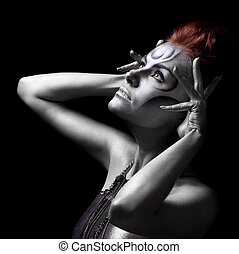 mulher bonita, bodyart, experiência preta, retrato, prata
