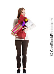 mulher bonita, boxes., presentes, segurando, casual