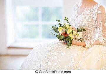mulher bonita, buquet, jovem, posar, loura, vestido casamento