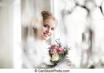 mulher bonita, buquet, posar, loura, vestido casamento