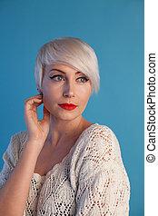 mulher bonita, cabelo curto, moda, retrato, loiro