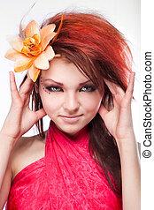 mulher bonita, cabelo, flor, retrato, branca