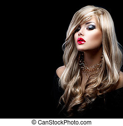 mulher bonita, cabelo longo, excitado, loiro