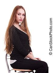 mulher bonita, cabelo longo, retrato, loiro