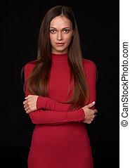 mulher bonita, cabelo longo, vestido, vermelho