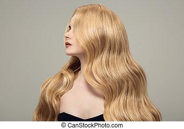 mulher bonita, cacheados, longo, loura, hair.