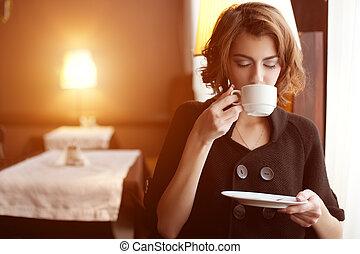 mulher bonita, café, jovem