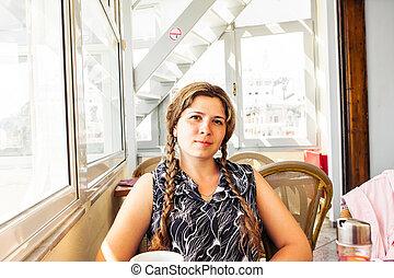 mulher bonita, café, sentando