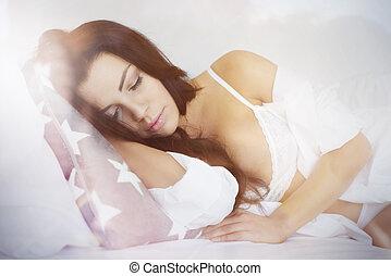 mulher bonita, cama, dormir
