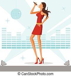 mulher bonita, cantando, discoteca