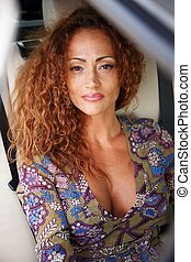 mulher bonita, car, middle-aged, ruivo, luxo, interior