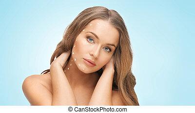 mulher bonita, cara longa, cabelo, loura