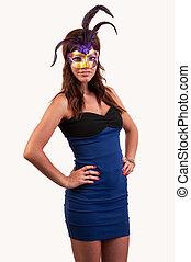 mulher bonita, carnaval, roxo, jovem, máscara, posar, mascarada