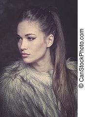 mulher bonita, casaco pele, jovem, retrato