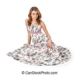 mulher bonita, chão, sentando, jovem, vestido