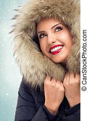 mulher bonita, chapéu, inverno