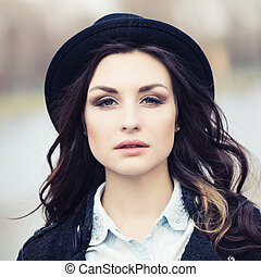 mulher bonita, chapéu, jovem, ao ar livre