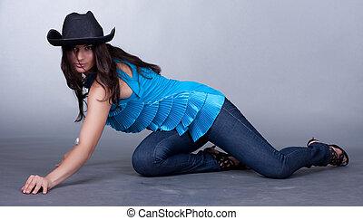 mulher bonita, chapéu, jovem