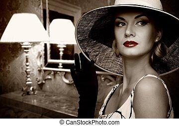 mulher bonita, chapéu, luxo, interior.