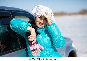 mulher bonita, chapéu, mittens