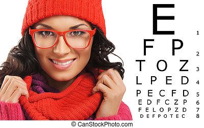 mulher bonita, chapéu, sobre, vermelho, teste, echarpe, tabela., visão, óculos